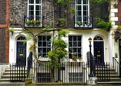 Elegant Entrance (Jocelyn777) Tags: fence doors windows doorsandwindows steps trees foliage buildings architecture brick facade richmond london england