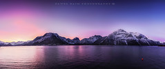 Andalsnes first light (Pamaxteam) Tags: andalsnes norway kaim copyright sunrise reflection bluehour firstlight nikon water fjord mountains snow coast city lights panorama