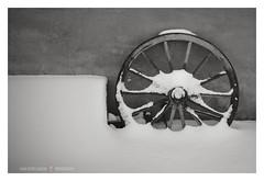 Echi di moto perpetuo (GP Camera) Tags: nikond80 nikonafsdx1855mmf3556gvr wheel ruota snow neve wall muro winter inverno winterlight luceinvernale details dettagli focus messaafuoco textures trame vignetting shades sfumature bw biancoenero monochrome monocromo silence silenzio whiteframe cornicebianca italy italia piemonte monferrato darktable gimp opensource freesoftware softwarelibero digitalprocessing elaborazionedigitale