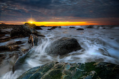 Almost Washed Away (ADW44) Tags: california sunset sunrise clouds pacificocean water rocks orangecounty socal southerncalifornia beach sky bluehour