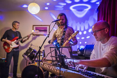 20180306_F0001: Rock band night (wfxue) Tags: guitar mic guitarist keyboard base drums rockband musician disco light discolight portrait people candid