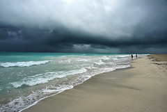 Almost Deserted (Anthony Mark Images) Tags: couple people portrait almostdeserted beach shoreline sand water waves ocean gulfofmexico storm rain stormclouds darkskies dramatic