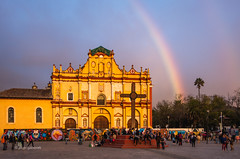 The Rainbow in San Cristobal (pietkagab (on the road)) Tags: sancristobaldelascasas san cristobal chiapas mexico south central america american mexican cathedral building church plaza rainbow evening golden hour light pietkagab photography pentax piotrgaborek pentaxk5ii travel trip tourism sightseeing colours colonial architecture cross