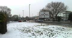 photo2290 (southglosguytwo) Tags: 2018 buildings cameraphonephoto hometown march signs sky southgloucestershire snow stationroad trees yate