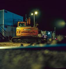 Building site (R.Scottsdale) Tags: 6x6 120 night nightphotography analog mundane yashica yashicamat photography sky mediumformat homeprocess 80mm film machine color provia 100 tlr road reflection f56 fuji fujifilm dark afterhours