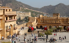 amber fort courtyard (kexi) Tags: jaipur rajasthan india asia amberfort elephants animals people many tourists courtyard top view panorama fortress fortifications canon february 2017 instantfave