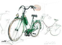 Velomoteur, Puces Motos Niort (Croctoo) Tags: croctoo croctoofr croquis crayon aquarelle watercolor vélo velomoteur