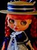"""Kiss the frog"" (Wivi Szani) Tags: blythedollcustom bythemodmolly meutrabalho blythe doll custom fashion handmade figurino sailosdress rendas algodão chapéu beijo outfit red ruiva modmolly wiviszani"