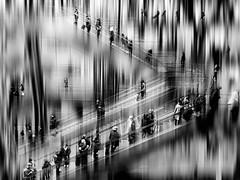"""As you start to walk out on the way, the way appears.""""- Rumi (Eggii) Tags: station berlin people bw black white"""