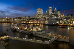 City View (JH Images.co.uk) Tags: london night hms belfast ship city skyscrapers skyline hdr dri thames river riverthames cityscape water