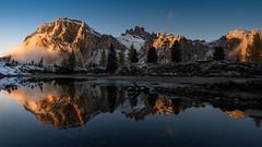 Sunset reflection (hunblende) Tags: sunset lake lagodilimides lago nature outdoor reflection water mountains dolomites