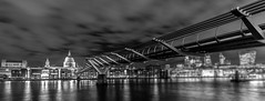 Millennium Bridge to St. Pauls (AnthonyPaul_) Tags: millennium bridge london st pauls cathedral architecture river thames colours urban color colourful cityscape old fashioned reflections lights stripes blue city night life centre shot sky dark darkness blackfriars under beneath streets skyline english england canon 200d bw