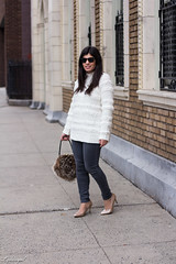 Loft Snowbird Sweater, Grey Jeans, Fur Bag, Nude Pumps Outfit-15.jpg (LyddieGal) Tags: loft naturalizer roundabout denim fashion fur gap grey newhaven outfit rayban style sweater thrifted tjmaxx vintage wardrobe weekendstyle white winter