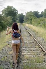 It's a long way ! IMG_1738 (geneaban) Tags: rails fer chemin campagne légère tenue vagabonde femme jolie jeune string