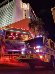 Clark County Fire Engine 32 on scene of a medical aid call at the Flamingo Hotel (Summerlin540) Tags: 911 999 ems paramedic emt emergency lasvegas nevada strip casino resort desert neon emergencia bomberos rescue ccfd fd department vegasstrong