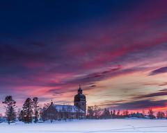 Swedish Sunset (www.hamperium.com) Tags: landscape nature outdoor sunset sweden sun winter snow sky scandinavia jämtland rödon rödön church