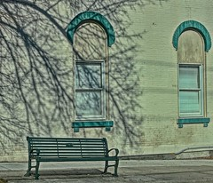 Shadows-HBM (Jo Zimny says: Where Is Spring????) Tags: bench benchmonday building windows tree shadow ithaca ithacany finger lakes central centralny fingerlakes