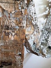 news pattern, incompletely processed (Ines Seidel) Tags: newspaper texture pattern altered news paper fiberart thread yarn zeitung zeitungspapier