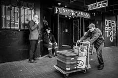 Funky Winker Bean's (johnjackson808) Tags: vancouver monochrome dtes hastingsst fujifilmxt1 downtowneastside streetphotography bw people blackandwhite pub cigarette