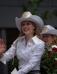 Wave & Smile (Scott 97006) Tags: woman rider outfit smiling waving pretty parade
