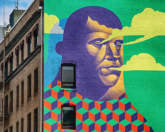 Clarence The Cloud Creator (Ian Sane) Tags: ian sane images clarencethecloudcreator wall mural forestforthetrees project 2015 michaelreeder artist urban photography southwest downtown portland oregon canon eos 5ds r camera ef70200mm f28l is usm lens