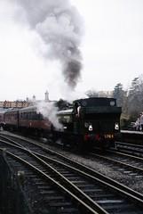 GWR 0-6-0PT no. 5764, 16.00 to Kidderminster, Bridgnorth SVR 23 Mar 1996_scans472 (Gillett's Crossing) Tags: severnvalleyrailway railway shropshire steamlocos gwr