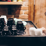 Barista making coffee and tea. Coffee cups on a machine.Cafe thumbnail
