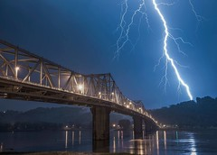 Bridge over Troubled Waters (Bernie Kasper (4 million views)) Tags: art berniekasper bridge blue cliftyfallsstatepark color d600 family hiking historic history indiana jeffersoncounty landscape lightining lightning madisonindiana madisonindianacliftyfallsstatepark nature nikon naturephotography new night outdoors outdoor old ohioriver photography raw spring travel storm thunderstorm reflection reflections strike