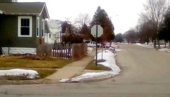 Neighborhood street - HFF 365/127 (Maenette1) Tags: street fence houses neighborhood menominee uppermichigan happyfencefriday flicker365 michiganfavorites project365