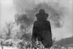 out of nothing (Dmitriy Ryabov) Tags: canoneos1v canon1v canon dmitriyryabov canonef85mmf12liiusm 85 bw monochrome blackandwhite photo photography film analog portrait man dark cloak hood smoke