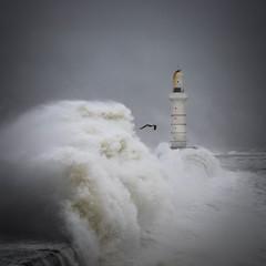 Breakwater (burnsmeisterj) Tags: olympus omd em1 aberdeen breakwater scotland waves lighthouse sea rough