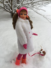 A walk in the snow (Foxy Belle) Tags: doll barbie skipper snow coat white plush mod vintage little sister hot pink boots cold winter outside