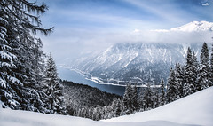 Skiing for meditation (VandenBerge Photography #goneforawhile) Tags: lakeachen alps austria winter panorama mountains clouds sky snow snowscape trees canon eos80d slopes forest nature white weather europe tyrol karwendel achensee achenvalley lake landscape