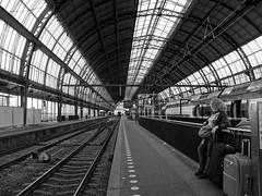 waiting for the next train #32 (Streets.and.Portraits) Tags: nl train station blackwhite monochrome amsterdam olympus sp590uz perspective vanishing bw railway