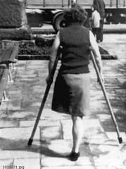 1025-01 rear view (jackcast2015) Tags: handicapped disabledwoman crippledwoman crutches amputee sakamputee sakamputation sak