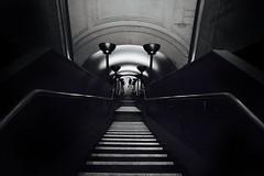 IMG_2643m (JetBlakInk) Tags: subwaystation stairwell lowkey minimalist mono monochrome perspective composition artdeco art streetphotography londonunderground shadowyfigure figure