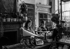 TheGarden, Dublin Ireland. (rick miller foto) Tags: em10markii omd olympus bw blackandwhite streetscenes streetstories streetphotography mono monochrome emeraldisle irish ireland dublin flowershop garden florist thegardenie