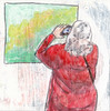 # 280 2018-03-17 (h e r m a n) Tags: back rug rucke ruggenfiguur ruckenfigur herman illustratie tekening 10x10cm tegeltje drawing illustration karton carton cardboard kunst art vrouw woman camera fotograaf photographer photo phone iphone mobilephone mobile mobiel schilderij painting