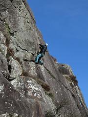 not so slab like (squeezemonkey) Tags: northwales snowdonia winter castlestafftrip tremadog tradclimbing climbing outdoors doleriterock craigpantifan uppertier crag climber