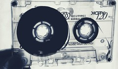DSC01720-02 (suzyhazelwood) Tags: tape cassette vintage tapes sony a6000 retro music creativecommons black white monochrome
