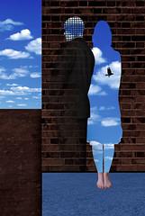 Die Zweitracht (winterkind.) Tags: man woman sky wall surreal digiart