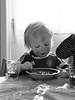 Jakob (livsillusjoner) Tags: blackwhite blackandwhite black white grey monochrome toddler kid kids child children cute young boy boys eat eating porridge drink