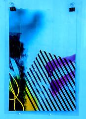 Clip Art (Steve Taylor (Photography)) Tags: paper clip art string graffiti pasteup wheatup wheatpaste streetart black blue purple yellow newzealand nz southisland canterbury christchurch newbrighton lines