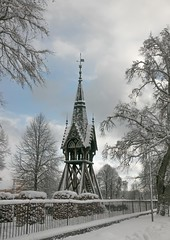 Lovastabruk Clock Tower (sussexscorpio) Tags: 2018 architecture clocktower february lovstabruk sussexscorpio sweden clouds river snow winter bell tower tierp trees europe lövstabruk belfry framing framed snowy cold wintry scenic tree building clock sky fence railings