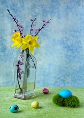 Easter Still Life B (jim.choate59) Tags: stilllife bouquet flowers daffodil plumblossoms blossoms easter easteregg egg colorful on1pics jchoate vase antique vintage d610