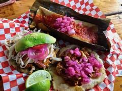 super traditional combo vaporcito, panucho, salbute (Fuzzy Traveler) Tags: panucho salbute vaporcito pork avocado tamale redonion cabbage lime mayan mayancuisine foodtruck somastreatfoodpark