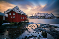 Reine, red cabin (Antoni Figueras) Tags: reine lofoten nordland norway europe arctic cabin redcabin snow clouds longexposure sunset reflections sonya7rii sony1635f4 haidand