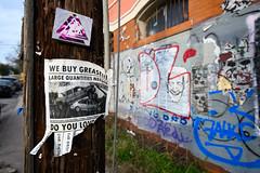 WE BUY GREASE!!! (-Dons) Tags: austin texas unitedstates tx usa streetart graffiti flyer grease car tow pole