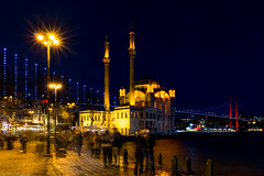 Lighting the continents (The Frustrated Photog (Anthony) ADPphotography) Tags: architecture category external istanbul longexposure nightscenes ortakoy places travel turkey night sky water city building mosque minaret bosphorus camii boat nighttime lightsatnight bridge span architecturephotography cityscape skyline travelphotography canon canon70d canon1585mm outdoor tourists