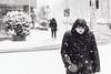 Meh! (Zesk MF) Tags: snow schnee candid street woman hooded strase zesk winter bw black white mf